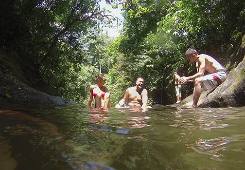Friends enjoying a lake in Costa Rica