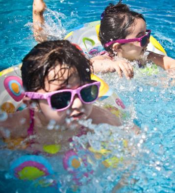 Kids in a hotel pool in Costa Rica